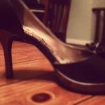her first high heels