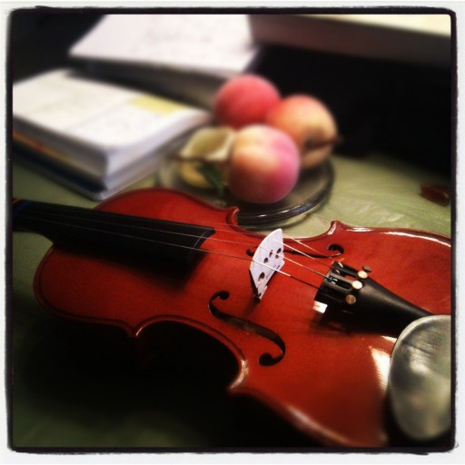 violin on kitchen table with books and peaches