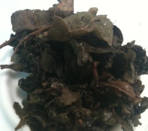 wet oolong leaves